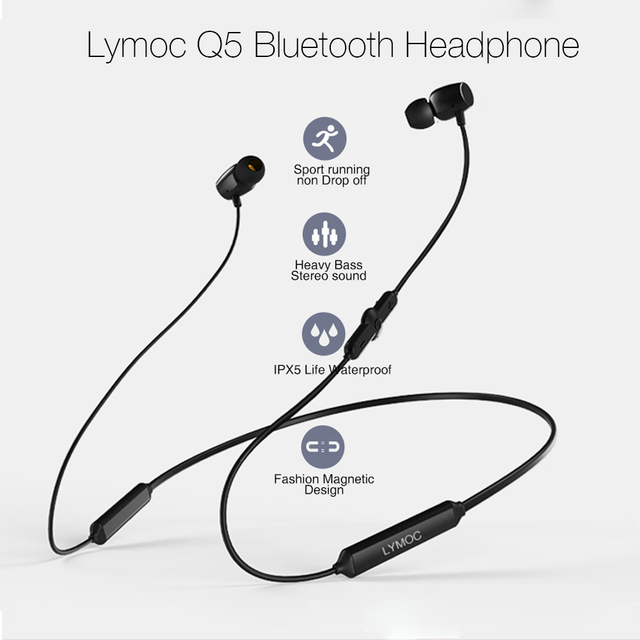 LYMOC Q5 Bluetooth kulaklık spor kablosuz kulaklık 48Hrs Talktime gerdanlık Stereo kulaklık koşu için iPhone Xiaomi Huawei
