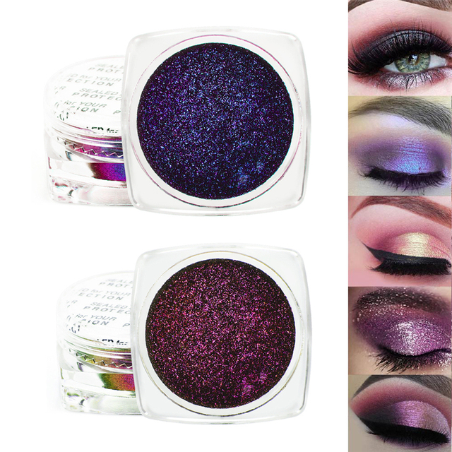 1 Box  Eyeshadow Glitter Chrome Eyeshadow Palette Powder Pigment Shiny Metallic Loose Eye Shadow Makeup Waterproof 2