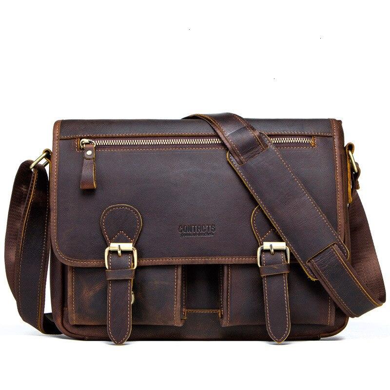 Hot Crazy Horse Mens Laptop Messenger Bags Man Single Shoulder Oblique Satchel Genuine Leather Male Package Designer Briefcases