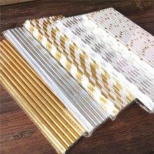 25pcs Metallic Gold heart star Foil Stripe Paper Straws Silver chevron Wedding Party Decor