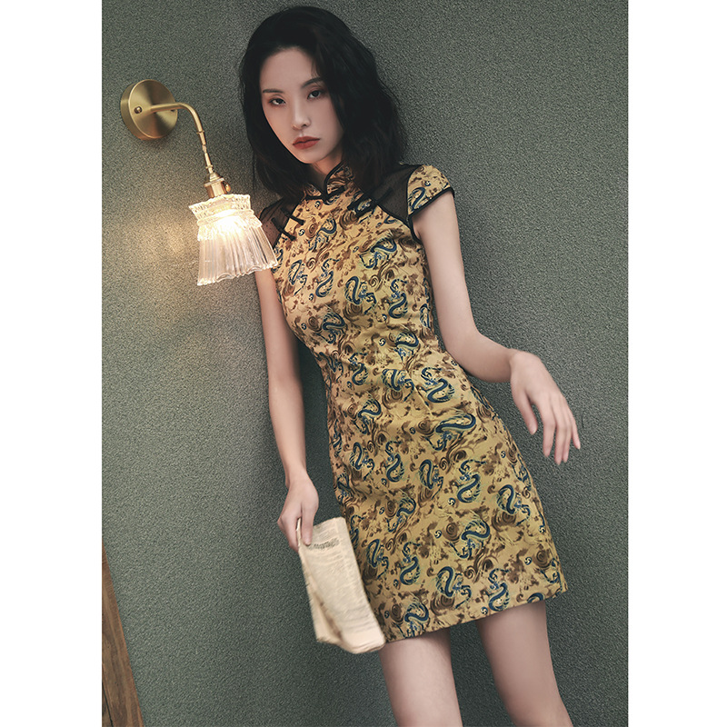 Modified Version Of Spring 2019 New Style Retro Nian Qing Kuan GIRL'S Short Cheongsam Chinese-style Dress
