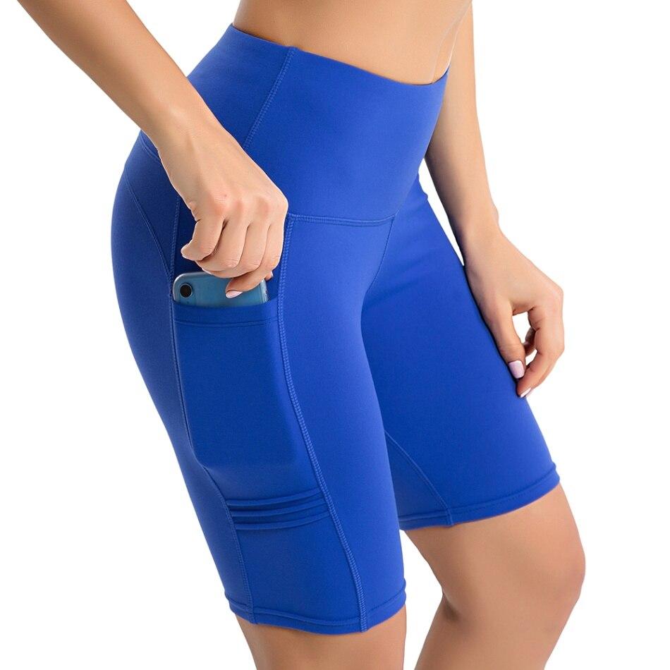 Женские шорты для йоги с высокой талией, штаны для йоги, для тренировок, бега, компрессионные шорты, для контроля живота, с боковыми карманами, для упражнений, для спортзала, для дома, шорты - Цвет: blue