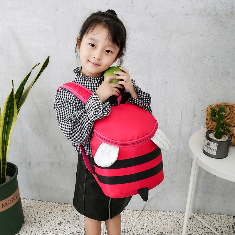 2019 New Style CHILDREN'S School Bags Primary Class Men And Women Baby Backpack Cartoon Cute Little Bee Nylon Burden Relieving B