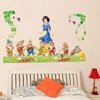 AliExpress Adesivos de Parede Quarto das crianças Quarto Quarto Adesivos Decorativos Dos Desenhos Animados Princesa Branca de Neve E Sete Anões AY902|Capas p/ interruptor| |  -