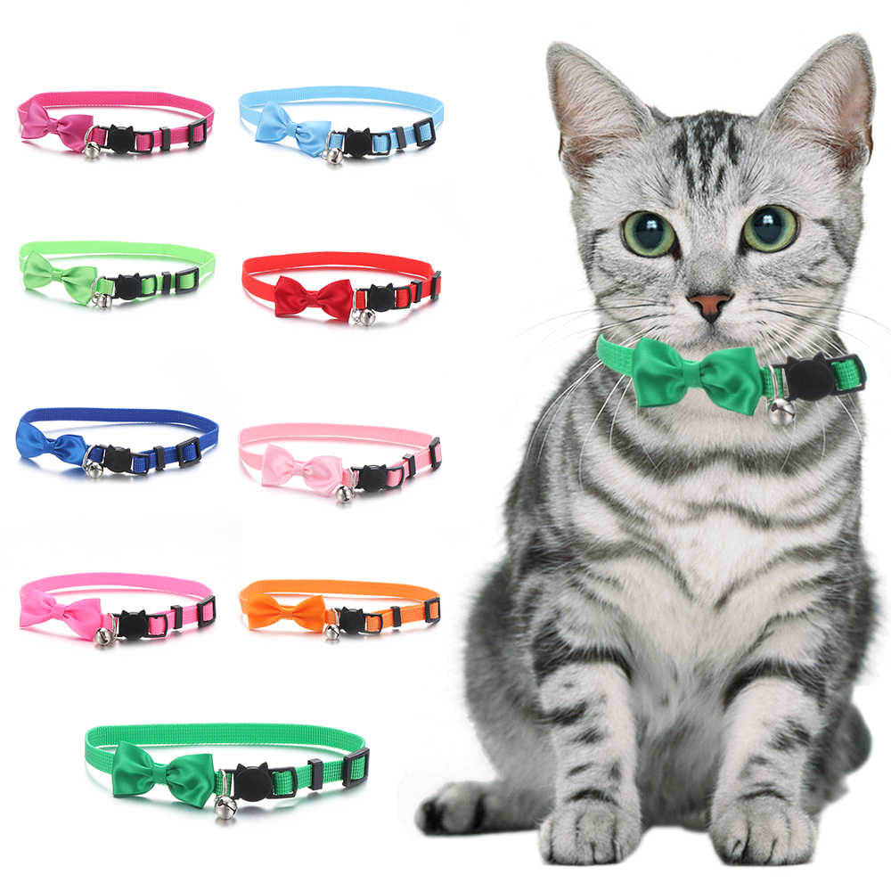1pc 猫犬ナイロン襟調節可能な安全バックルベルペット用品ちょう結び襟ネックレス子犬アクセサリー