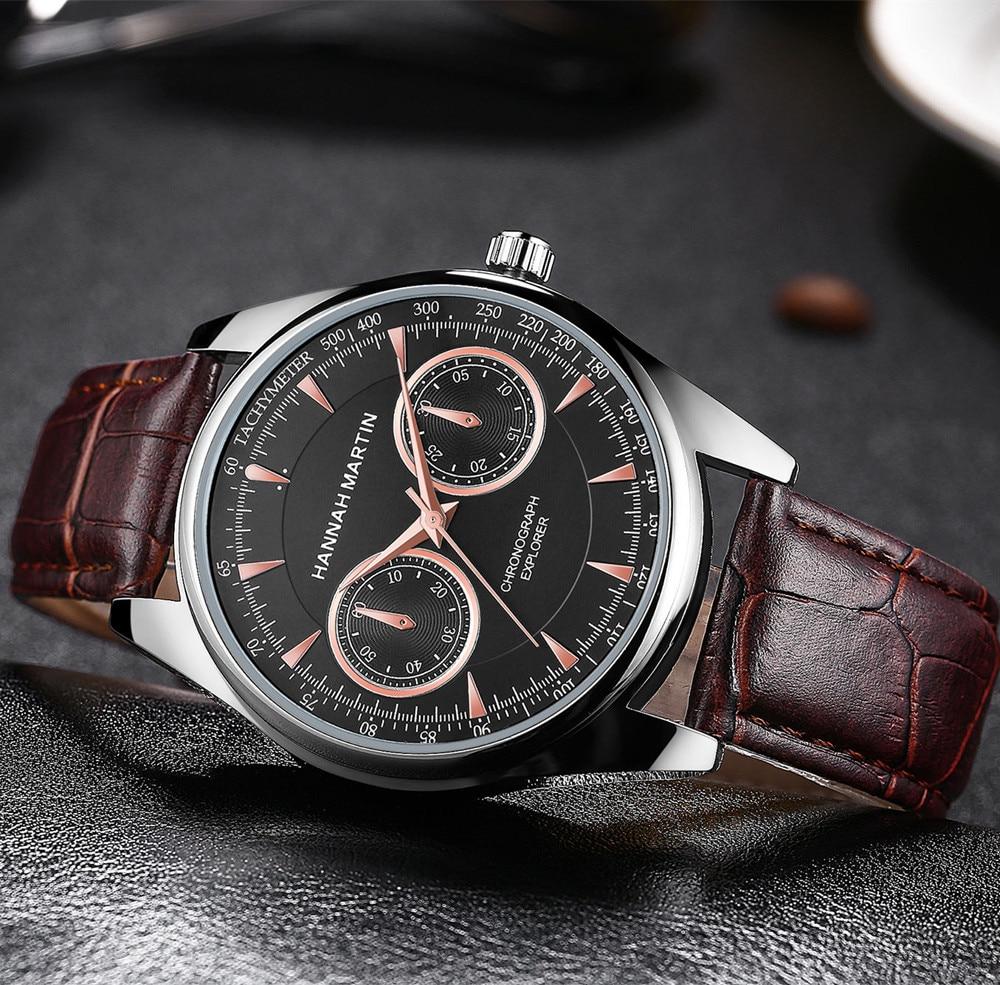 Horloges Mannen Watches Mens Hannah Martin Luxury Brand Date Leather Stainless Steel Sport Quartz Wrist Watch Buckle Round Reloj