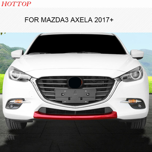 HOTTOP for mazda3 axela 2017+ 2018 trim garnish guard grille chrome front lower bumper molding protectoor lip spoiler cover