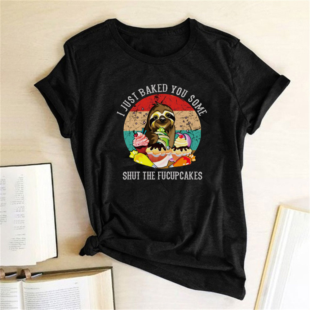 Sloth Print Women Women T-shirt Round Neck Short Sleeve Summer Cartoon Funny Tshirt Harajuku Tee Shirt Ropa De Verano Mujer 2020