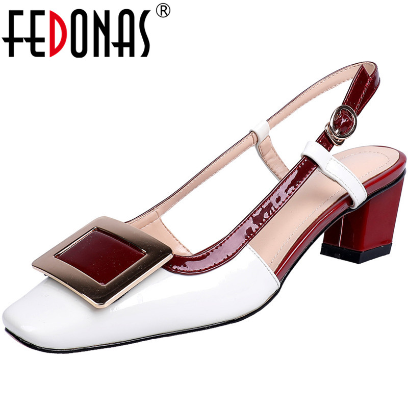 FEDONAS Elegant Square Toe Ladies Shoes High Heels Pumps Genuine Leather Sandals Sexy Metal Decoration Party Summer Shoes Woman