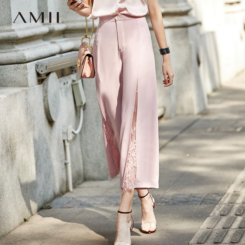 Amii Minimalist Spring Summer Temperament Lace Trousers Women High Waist Wide Leg Pants 11940227