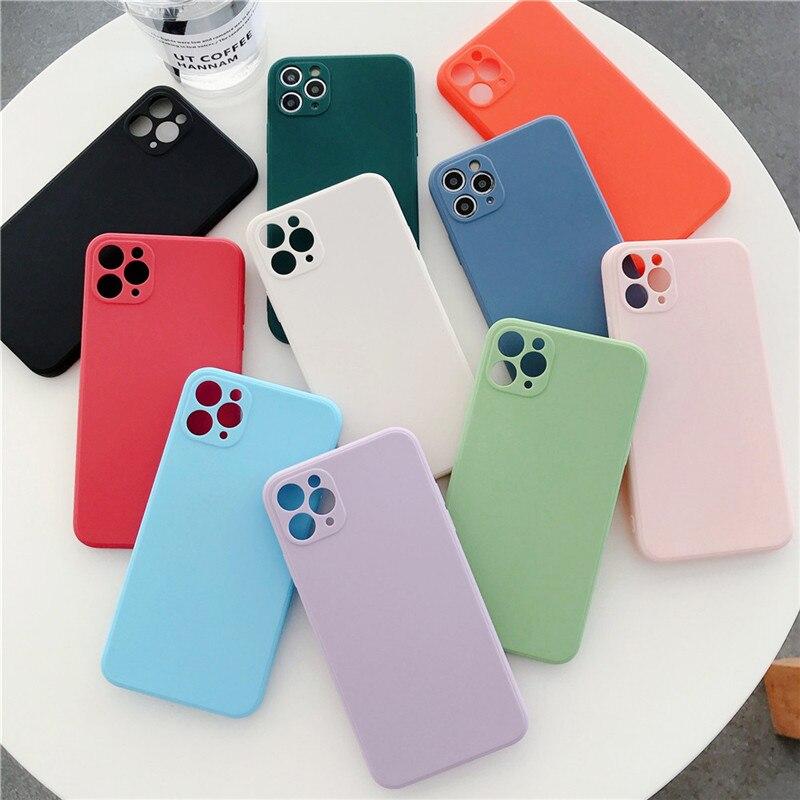 Мягкий силиконовый чехол Soild карамельных цветов для телефона iPhone 11 12 Pro X XR XS Max 7 8 Plus SE2020 Защита камеры противоударный чехол