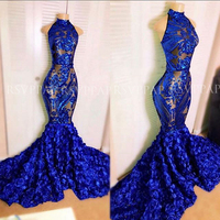 Royal Blue Mermaid Prom Dress 2020 Sexy See Through Top High Neck Sequin 3D Flowers African Black Girl Long Prom Dresses