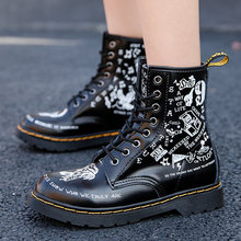 2021 Women Boots Martens Graffiti Womens Ankle Boots Leather Cowboy Combat Boots Big Size 35-46 Leather Shoes