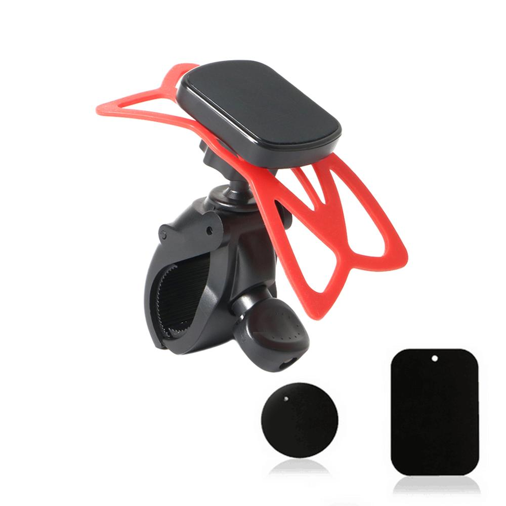 Adjustable Bike Handlebar Magnetic Cellphone Mount With Red Silicone Strip For Cell Phone