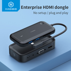 Hagibis Wireless Display Transmitter with USB-C Hub Ultra Low Latency Business HDMI Dongle Smart Cast 4K for iOS Android Netflix