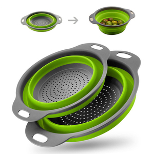 Creative Kitchen Fruit Vegetable Washing Tools Useful Foldable Cleaning Basket Strainer Kitchen Accessories Gadgets Supplies2020