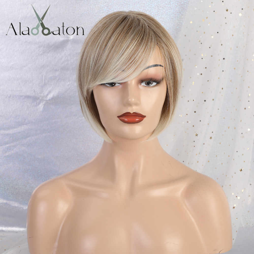 ALAN EATON Short High Temperature Fiber Straight Hair Cosplay Wigs Synthetic Hair Heat Resistant BOBO Wig Ombre Brown Blonde