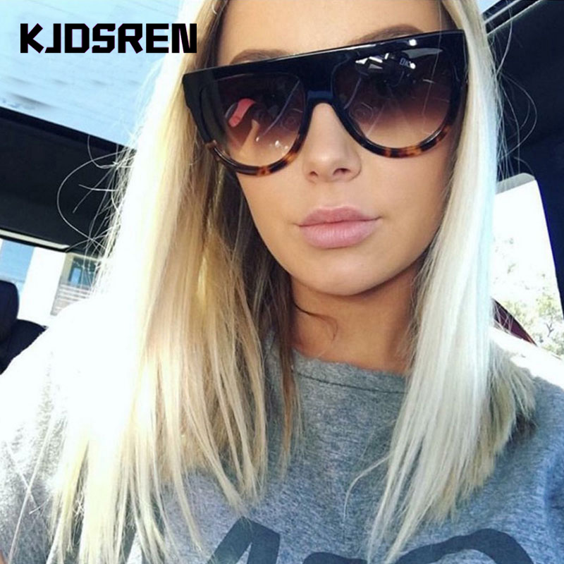 KJDSREN Brand 2020 Sunglasses Women Gradient Lens Black Leopard Flat Top Oversized Shadow Shield Ladies Sun Glasses Shade Oculos