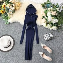 Mooirue Autumn Women Sheath Sweater Long Dress Hooded Zipper Casual Vintage Streetwear Harajuku Korean  Basic Kintting Vestido