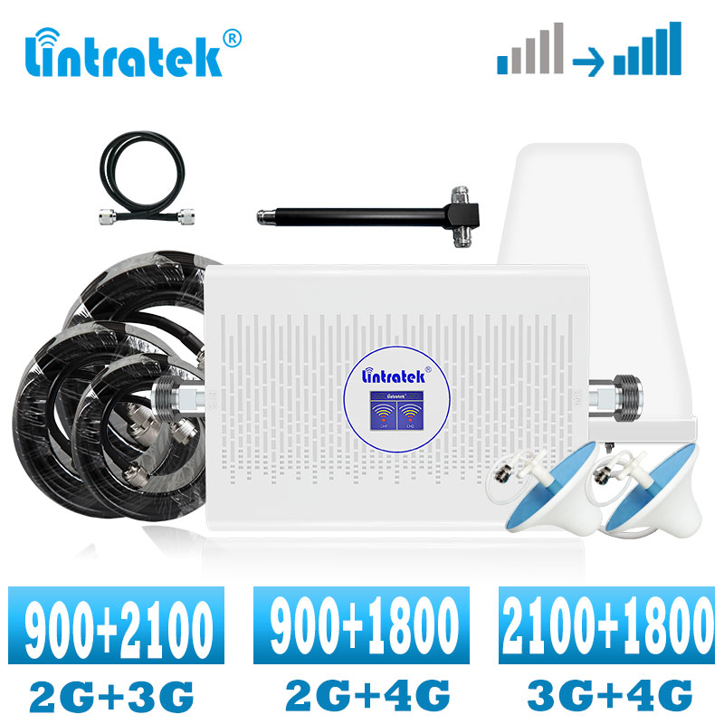 Lintratek GSM 2G 4G Signal Booster 3G 4G Cellular Signal Amplifier 900 1800 2100 WCDMA DCS  LTE Mobile Phone AmplIfier 70dB ALC