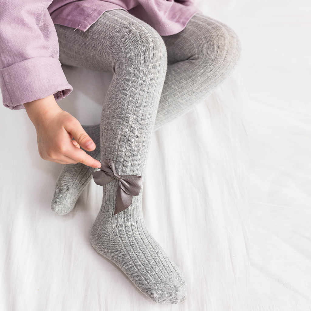 Autumn Winter Toddler Baby Girl Knitted Tights Stockings Solid Candy Color Ribbon Bow Pantyhose Warm Stockings For Girls Tights