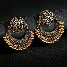 Retro Moon Indian Jewelry Jhumka Earrings Orecchini Vintage Gypsy Flower Gold Color Tassel Earrings For Women