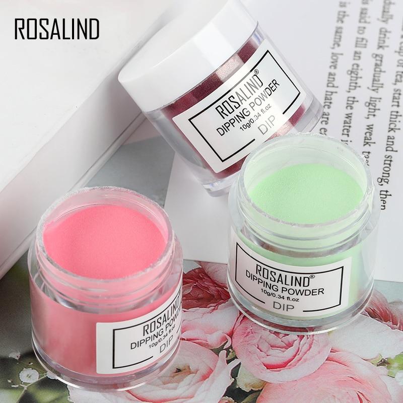ROSALIND 10g Dipping Powder White Clear Acrylic Powder Glitter Dust Chrome Nail Dip Powder Pigment For Nails Art Designs New