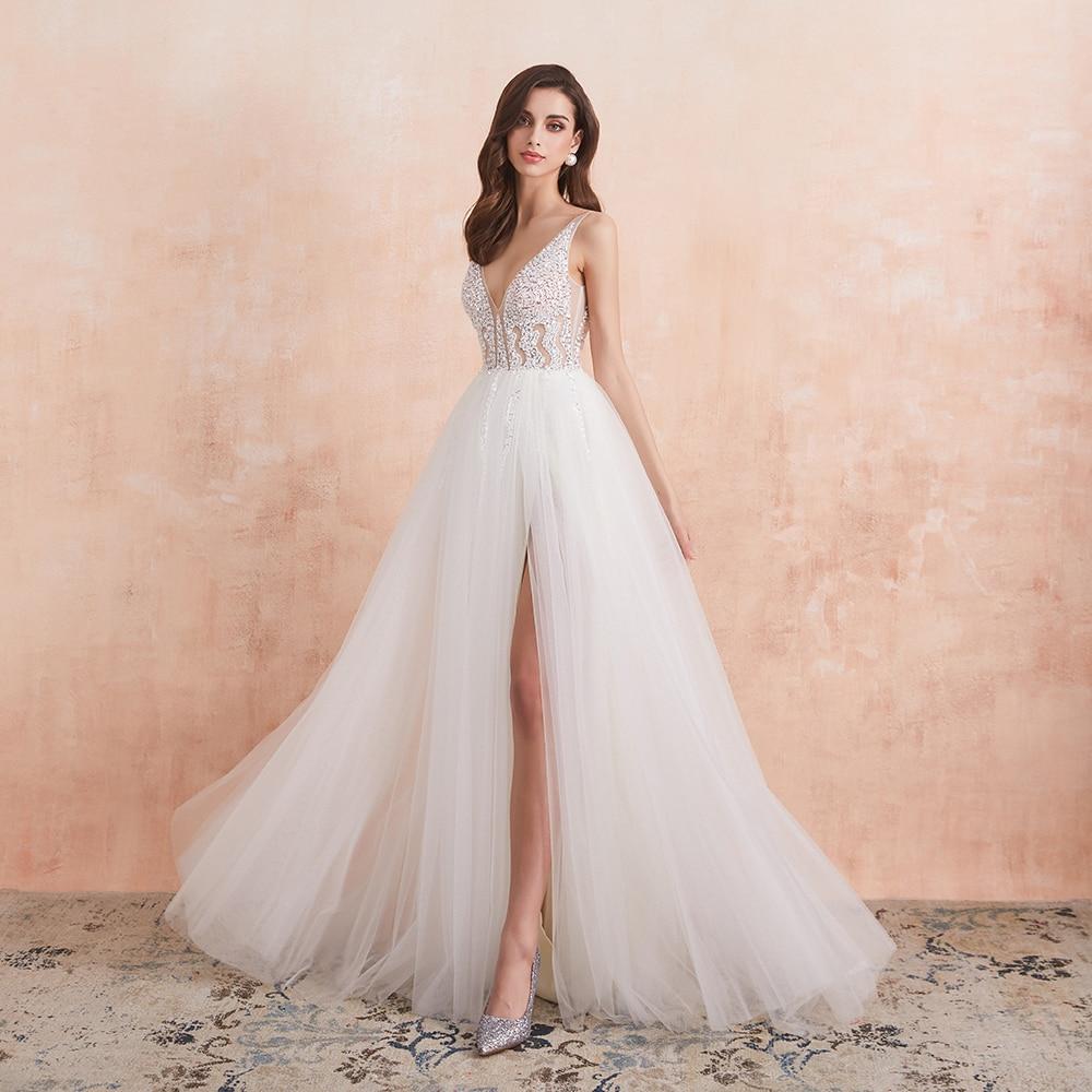 V Neck Wedding Dress White Ivory Sexy High Splits Beaded Beading Pearls Crystal A Line Backless Bridal Gown Vestido De Noiva 1