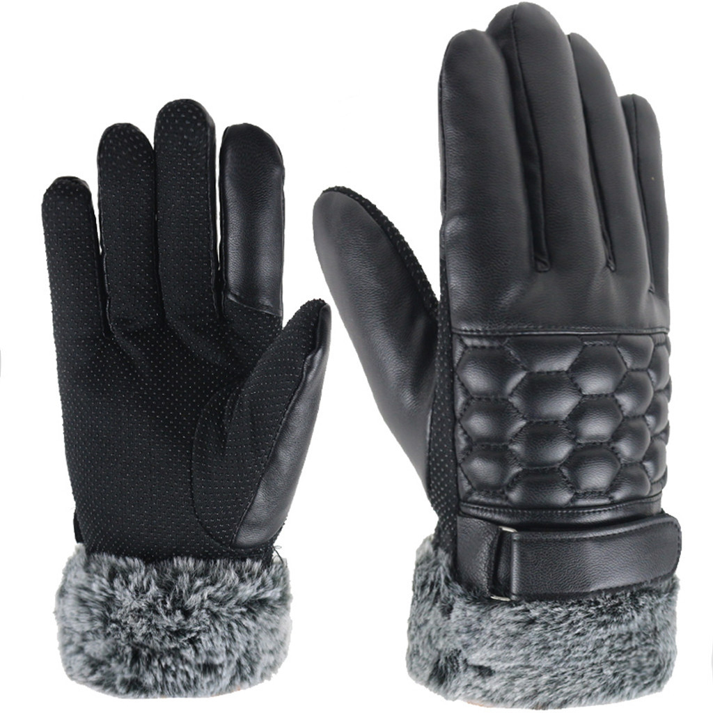 New Mens Gloves Leather Sheepskin Mittens Warm Winter Gloves  Using Phone For Driving Cycling Running Gloves#YL5
