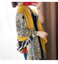 Accesorios mujer chic zielony niebiesko szary leopard szalik kobiety moda jesień długi wzór lamparta szalik Sjaal muzułmański hidżab Snood