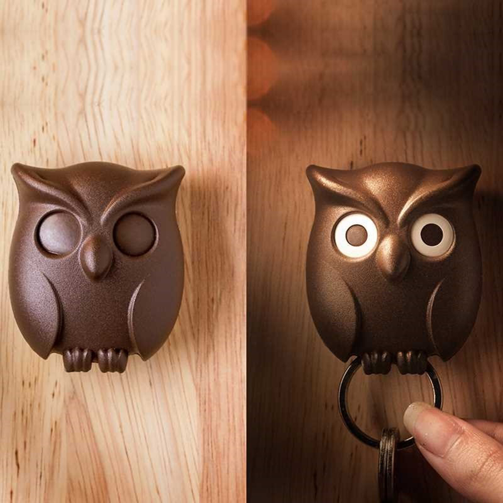 1PCS Night Owl Black White Brown Magnetic Wall Key Holder Magnets Keep Keychains Key Hanger Hook Hanging Key It Will Open Eyes