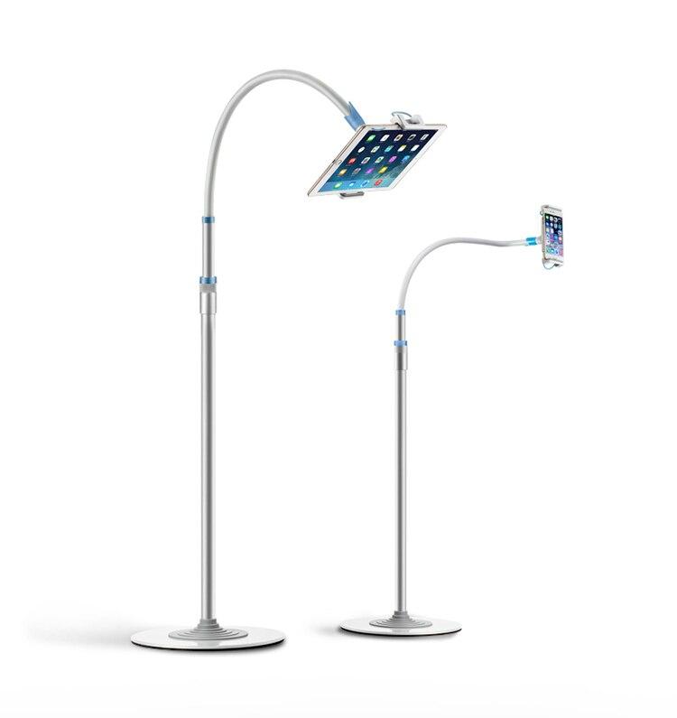 Super qualité multifonctionnel en aluminium + cuivre tuyau cou 4-12.9 pouces tablette PC/téléphone portable support de sol avec Ultra-mince 1cm Base
