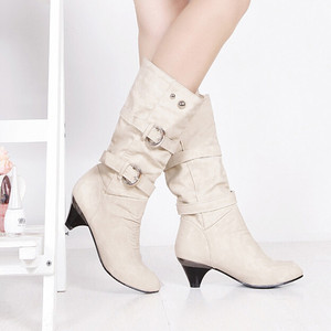 Image 2 - Shoes Woman Boots Women High Boots Autumn Winter Round Head Anti Slip Belt Buckle Cup Middle Tube Comfortale Female Casual Botas