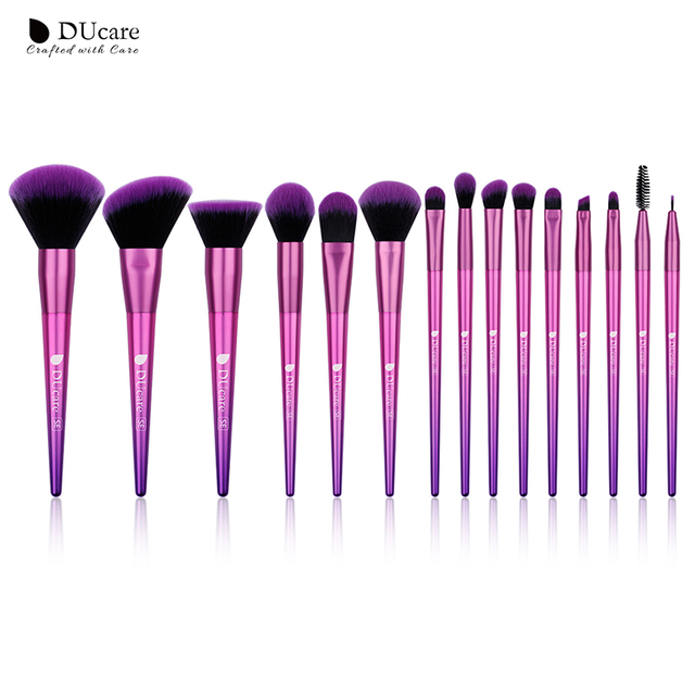 DUcareแปรงแต่งหน้า15PCS Professional Synthetic Hairสำหรับแต่งหน้าอายแชโดว์Foundation Blush Set Beauty Necessity