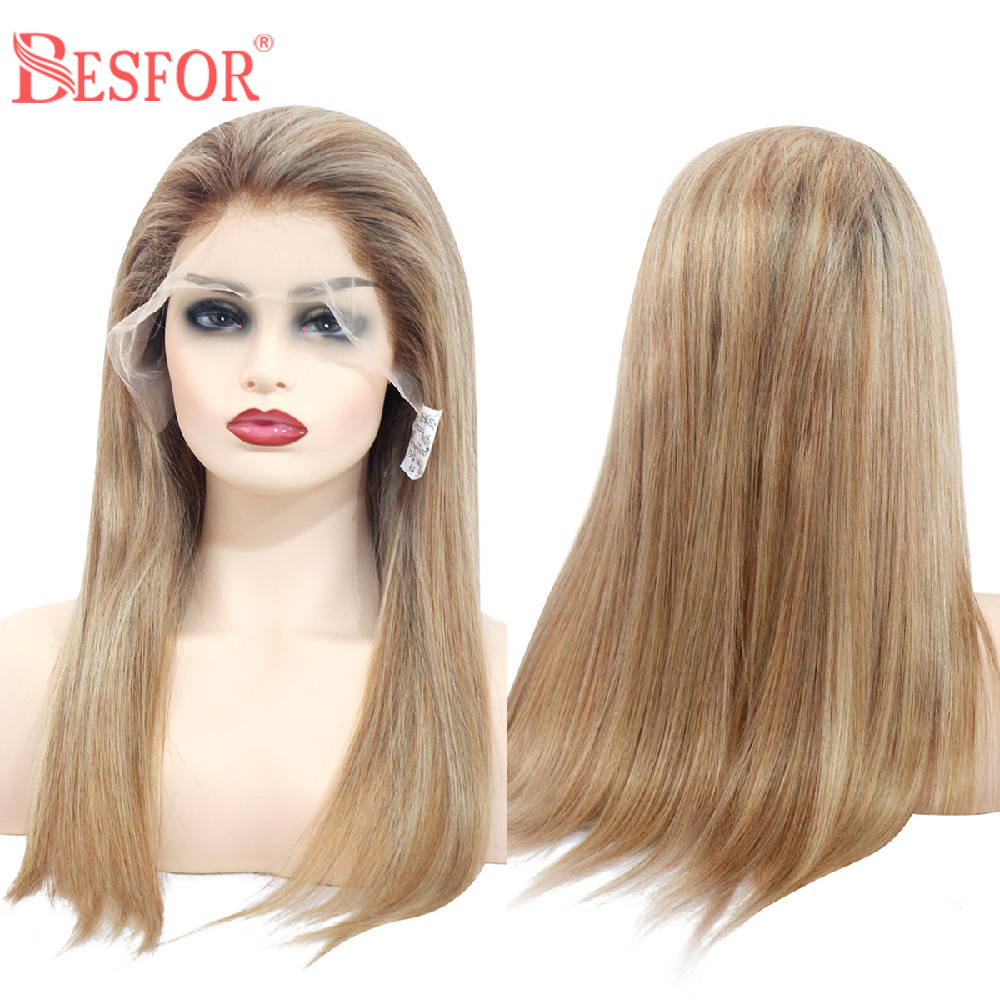 Straight 13×6 Human Hair Lace Front Wigs 3 Tones Ombre Balayage Hair Wig Pre Plucked Free Part Lace Frontal Wig With Baby Hair