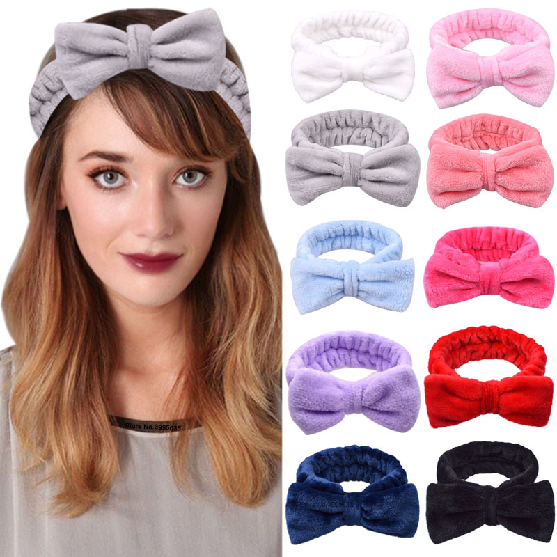 2019 New Solid Color Coral Fleece Wash Face Bow Hairbands For Women Girls Headbands Headwear Hair Bands Turban Hair Accessories