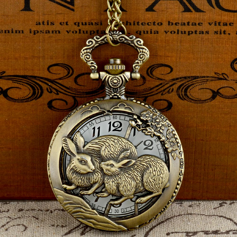 IBEINA Vintage Bronze Rabbit Graphic Quartz Pocket Watch With Chain Retro Men Women Classic Pendant Necklace Clock Gift