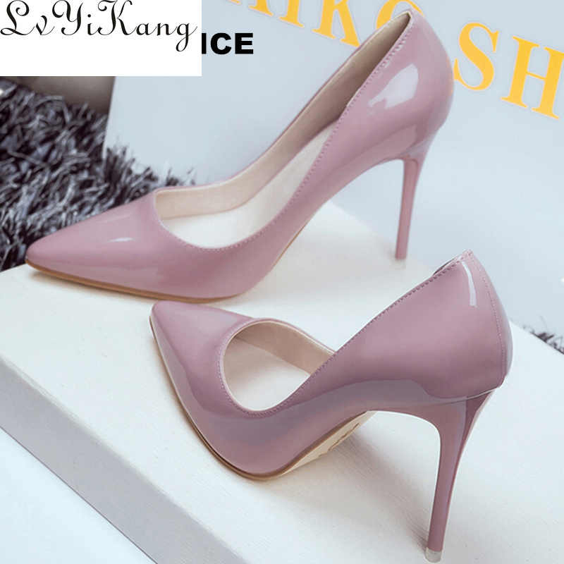 2019 Women Shoes Pointed Toe Pumps Patent Leather Dress Shoes High Heels Boat Shoes Wedding Shoes Zapatos Mujer 10cm/7cm/4cm