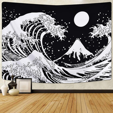 Kanagawa Great Wave Tapestry Japanese Ocean Wave Tapestry Moon Tapestry Universe Galaxy Tapestry Wall Hanging for Living Room turtle ocean fish wall tapestry