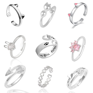 Fashion Pet Dog Paw Foot Print Cat Ear Ring Silver Fox Angel Wings Bee Rabbit Heart Wedding Rings For Women Animal Jewelry Anel(China)