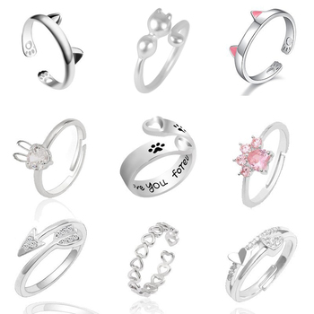 Fashion Pet Dog Paw Foot Print Cat Ear Ring Silver Fox Angel Wings Bee Rabbit Heart Wedding Rings For Women Animal Jewelry Anel
