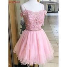 Короткие Розовые выпускные платья Кружевная аппликация из бисера
