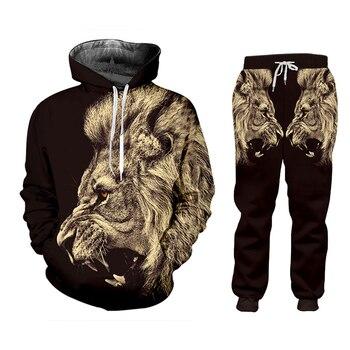CJLM Casual Men's Tracksuit Hoodie Pants 3D Printing Two-piece Winter Jacket Men Loose Large Size Black Animal Lion Suit Sports 1