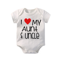 Culbutomind New 2017 Cute Aunt and Uncle Print White Short Sleeve Cotton Baby Bodysuit Unisex Clothes Jumpsuits Clothing Se
