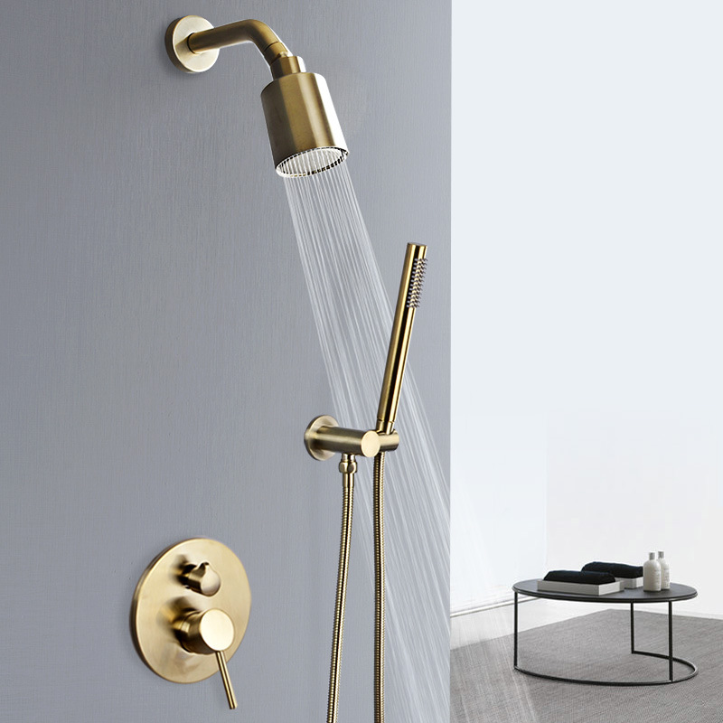 Bathroom Shower Set In Wall Brushed Gold Rainfall Shower Mixer, Cold & Hot Brass Bath and Shower Mixer Tap Brass Bathroom Faucet