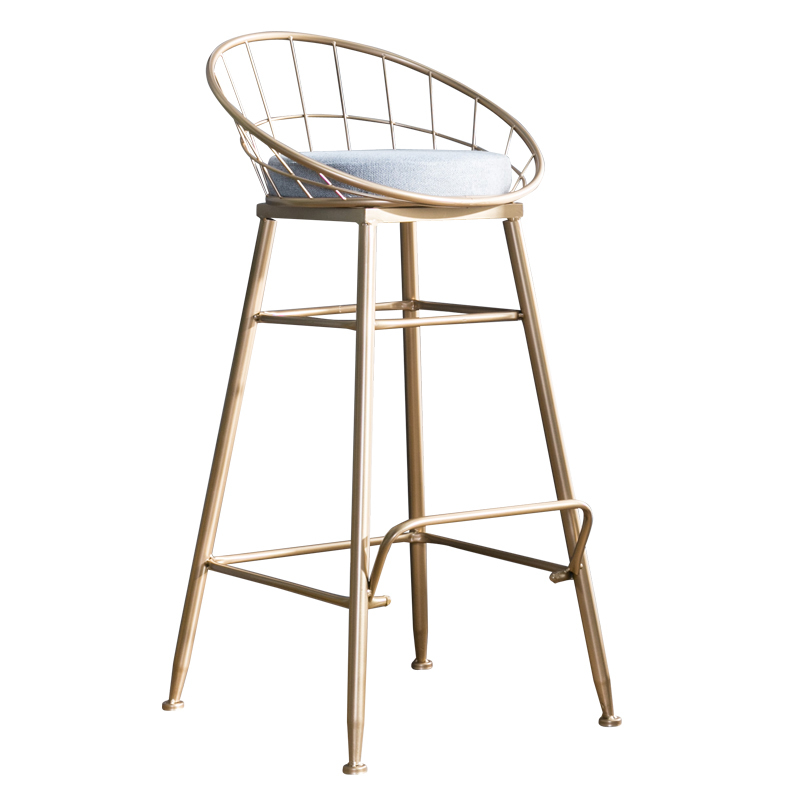 The Latest Nordic Bar Stool Wrought Iron Bar Chair Gold Home High Stool Modern Dining Chair Metal Front Bar Chair