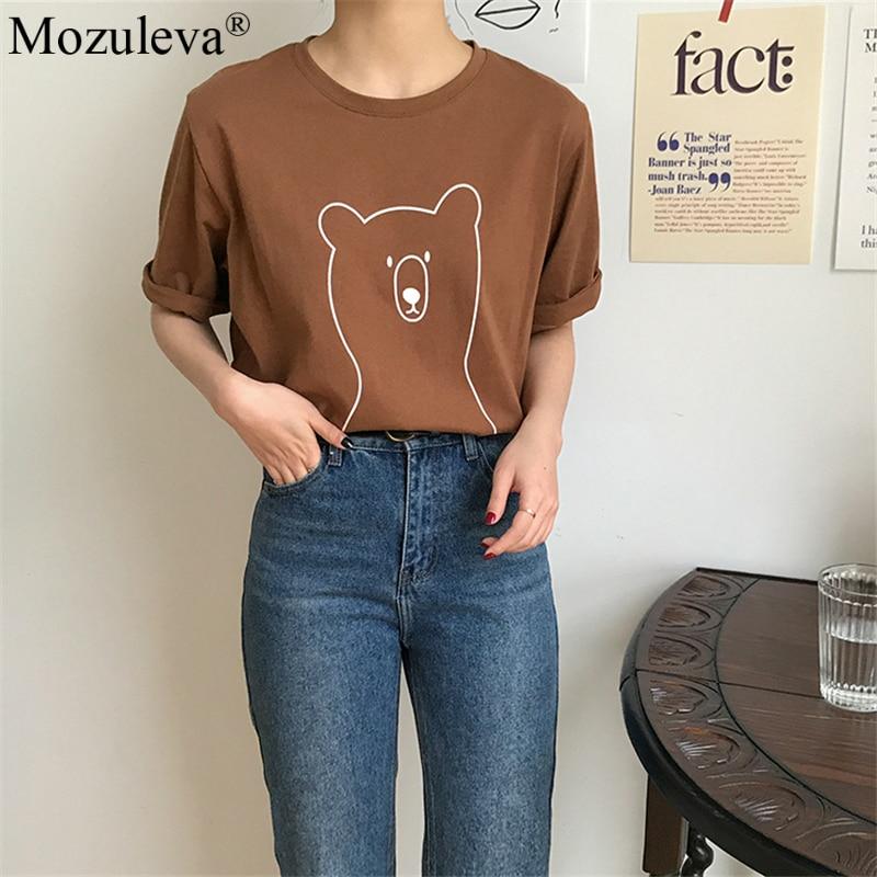 H1de5316ce59e4991ba092163b67fb660W Mozuleva 2020 Chic Cartoon Bear Cotton Women T-shirt Summer Short Sleeve Female T Shirt Spring White O-neck Tees 100% Cotton