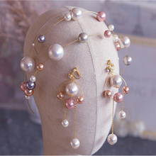 HIMSTORY High Grade European Big Round Pearls Brides Headband Earring Bridal Wedding Hair Accessory Prom Headdress Accessories