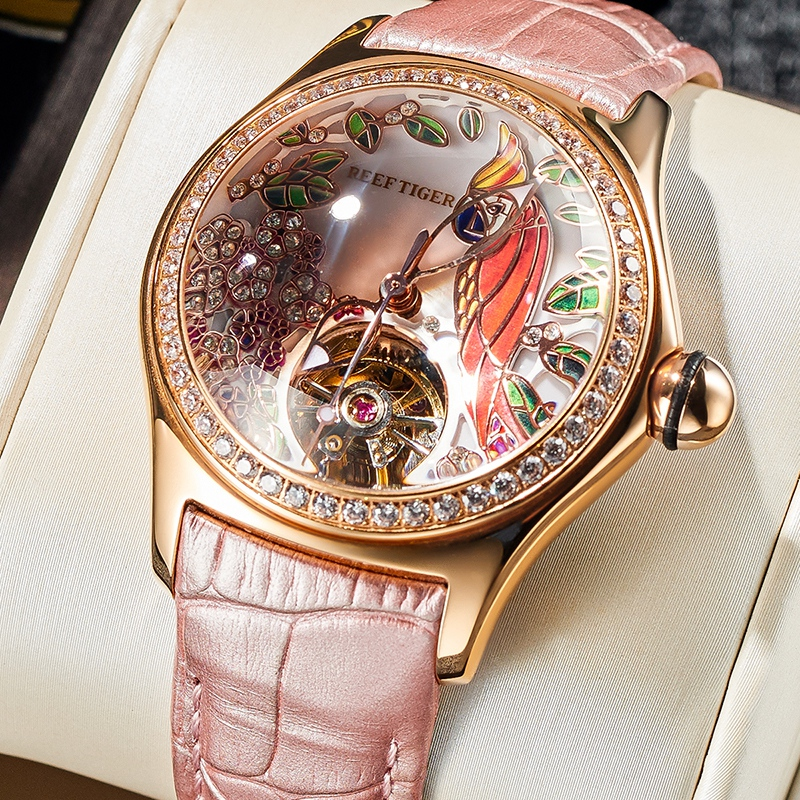 2020 Reef Tiger/RT Womens Luxury Fashion Watches Diamond Automatic Tourbillon Watch Leather Strap Watch Relogio Feminino RGA7105 1