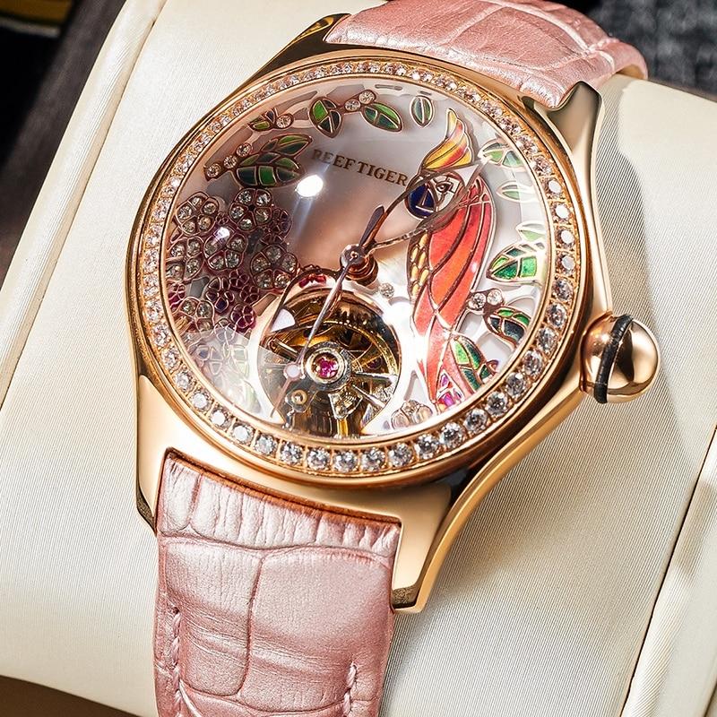 2020 Reef Tiger/RT Womens Luxury Fashion Watches Diamond Automatic Tourbillon Watch Leather Strap Watch Relogio Feminino RGA7105 1